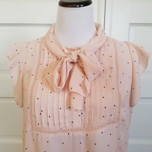 LOFT Polka Dot Blouse With Tie Feature Size M
